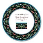 Vintage Round Retro Frame of Garden Nature Spiral Flower Stock Illustration