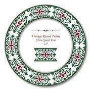 Vintage Round Retro Frame of Green Spiral Vine Stock Illustration