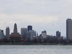 4K UltraHD Buffalo, New York skyline across the Niagara River Stock Footage