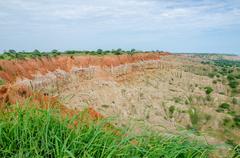 Collapsed natural phenomenon Miradouro da Lua or the Moon Landscape in Angola Stock Photos