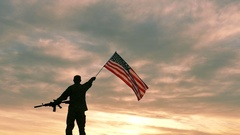 Soldier with automatic rifle wave American Flag .Slow Motion.  Stock Footage