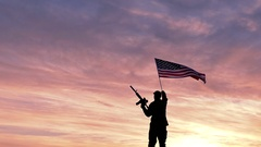 Soldier silhouette and American Flag with automatic rifle. Slow Motion.  Stock Footage