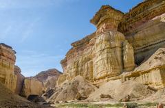 Impressive natural canyon in the Namibe Desert of Angola Stock Photos