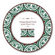 Vintage Round Retro Frame of Round Flower Green Vine Stock Illustration