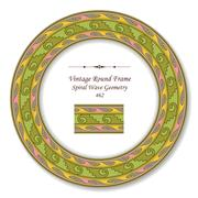 Vintage Round Retro Frame of Spiral Wave Geometry Stock Illustration