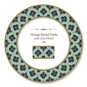 Vintage Round Retro Frame of Scale Line Flower Stock Illustration