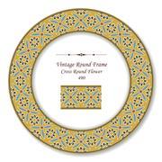 Vintage Round Retro Frame of Cross Round Flower Stock Illustration