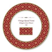 Vintage Round Retro Frame of Retro Crimson Polygon Cross Flower Stock Illustration
