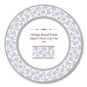 Vintage Round Retro Frame of Elegant Blue Nature Leaf Vine Stock Illustration