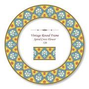 Vintage Round Retro Frame of Retro Spiral Cross Flower Stock Illustration