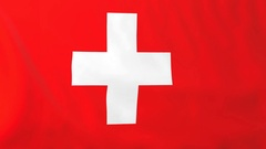 Flag of Switzerland waving in the wind, seemless loop animation Stock Footage