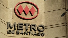 Close-up of the metro sign of the subway in Santiago de Chile. Stock Footage