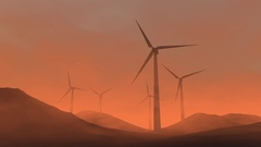 Wind turbine in a mars Stock Footage