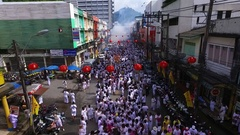 PHUKET, THAILAND October 7, 2016:Aerial:Vegetarian festival. War in Phuket town. Stock Footage