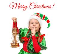 Girl in suit of Christmas elf with oil lamp Stock Photos