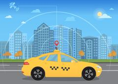 Self-driving intelligent driverless taxi car goes through the city using modern Stock Illustration