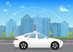 Self-driving intelligent driverless car goes through the city using modern Stock Illustration
