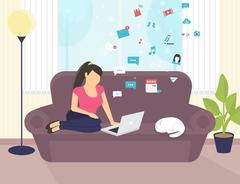 Woman sitting with laptop on the sofa at home and working Stock Illustration