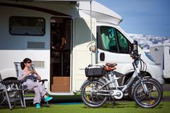Family vacation travel, holiday trip in motorhome Kuvituskuvat