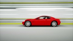Red sport car in a tunnel. fast driving. realistic 4k animation Stock Footage