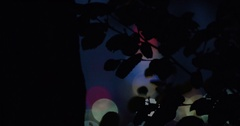 Abstracted city lights in the background behind a tree - 4k Stock Footage