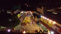PHUKET, THAILAND October 7, 2016:Aerial:Vegetarian festival.Firewalking show. Stock Footage