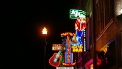 Nashville Tennessee Broadway Neon Cowboy Stock Footage