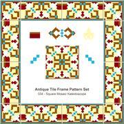 Antique tile frame pattern set of Square Mosaic Kaleidoscope Stock Illustration