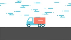 Delivery truck animation with concept of free home delivery and fast shipping Stock Footage