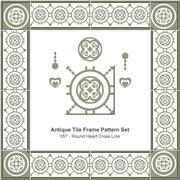Antique tile frame pattern set of Round Heart Cross Line Stock Illustration