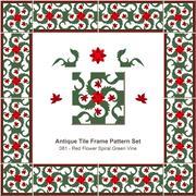 Antique tile frame pattern set of Red Flower Spiral Green Vine Stock Illustration