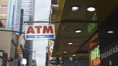 New York City ATM - establishing shot - gloomy day Stock Footage