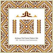 Antique tile frame pattern set of Retro Geometry Wave Cross Kaleidoscope Stock Illustration
