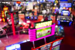 Blurry slots machines at a casino Stock Photos