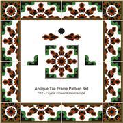 Antique tile frame pattern set of Crystal Flower Kaleidoscope Stock Illustration