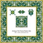 Antique tile frame pattern set of Green Leaf Spiral Vine Stock Illustration