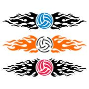Volleyball-ball-flaming-vector-logo-template-collection Piirros