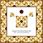 Antique tile frame pattern set of Yellow Brown Star Kaleidoscope Stock Illustration