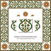 Antique tile frame pattern set of Retro Garden Round Spiral Flower Vine Stock Illustration