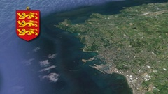 St Peter Port with Coat Of Arms Animation Map Stock Footage
