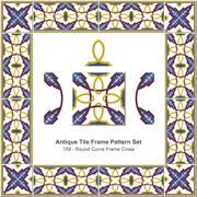 Antique tile frame pattern set of Round Curve Frame Cross Stock Illustration