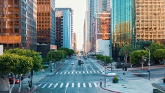 Time-lapse of traffic at a busy intersection in Downtown Los Angeles Stock Footage