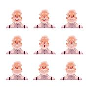 Grey haired old man face expression avatars Stock Illustration