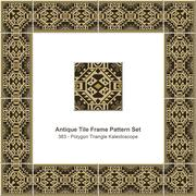 Antique tile frame pattern set of Retro Brown Polygon Triangle Kaleidoscope Stock Illustration