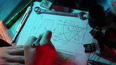 Designing mechanical parts by engineer Stock Footage