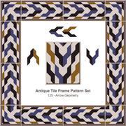 Antique tile frame pattern set of Retro Arrow Geometry Stock Illustration