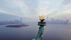 Aerial View of Torch Statue of Liberty 4K Stock Footage