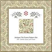 Antique tile frame pattern set of Garden Spiral Leaf Flower Stock Illustration