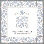 Antique tile frame pattern set of Elegant Blue Nature Leaf Vine Stock Illustration