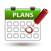 Tear-off calendar with pencil with title plans Stock Illustration